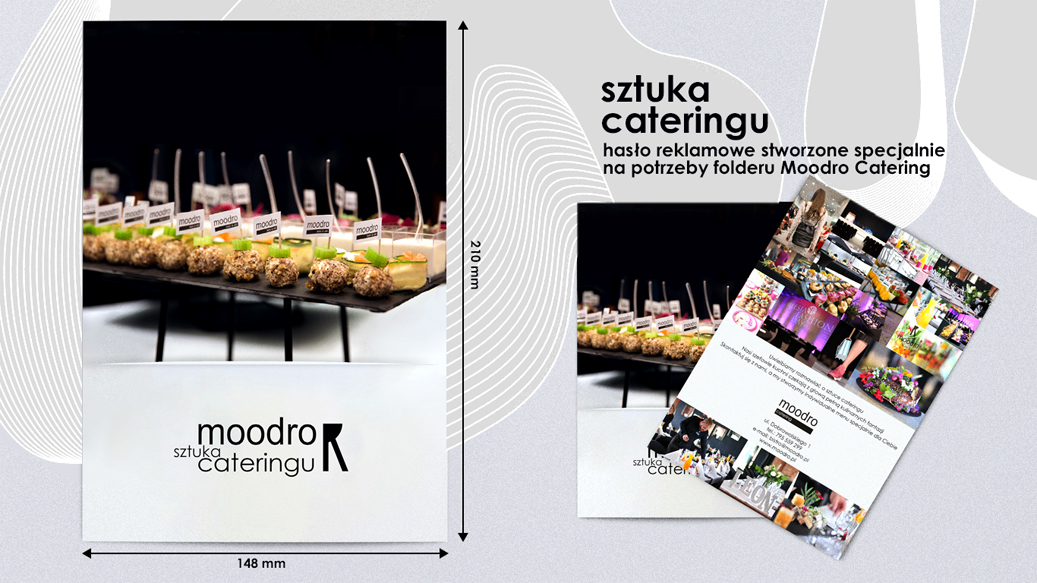 The view of the folder cover along with the dimensions and the motto - the art of catering